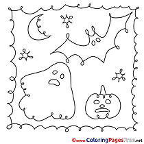 Image Children Night Halloween Colouring Page