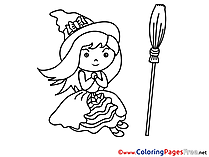 Little Sorceress printable Coloring Pages Halloween