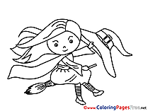Little Witch Coloring Sheets Halloween free
