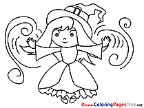 Little Witch for Kids Halloween Colouring Page