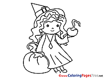 Little Witch free Halloween Coloring Sheets