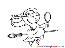 Mirror Witch Colouring Sheet download Halloween