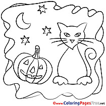 Moon Pumpkin free Colouring Page Halloween