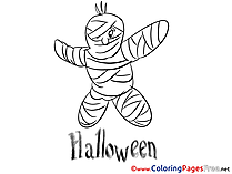 Mummy Kids Halloween Coloring Page
