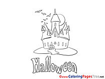 Night Castle Kids Halloween Coloring Page