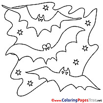 Night download Halloween Bats Coloring Pages