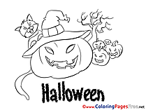 Pumpkin Kids Halloween Coloring Pages