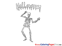 Skeleton free Colouring Page Halloween