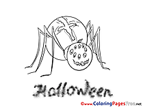 Spider Colouring Page Halloween free