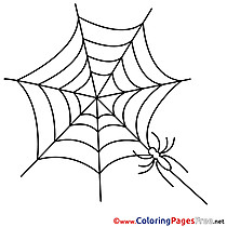 Web Kids Halloween Spider Coloring Page