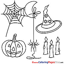 Web Spiders printable Halloween Coloring Sheets