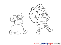 Bag Kids New Year Coloring Pages Presents