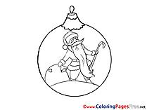 Ball Colouring Page Santa Claus New Year free