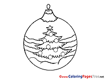 Ball for Kids New Year Christmas Tree Colouring Page