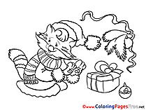 Cat in Scarf printable New Year Coloring Sheets