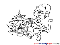 Cat plays Accordion Children New Year Colouring Page