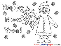 Children Santa Claus New Year Colouring Page