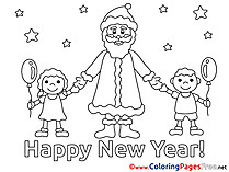 Children Snow Colouring Page New Year free