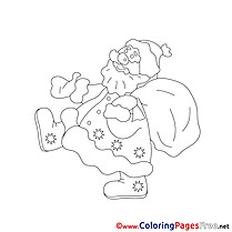 Colouring Sheet download New Year Santa Claus