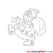 Colouring Sheet download New Year Santa Claus