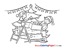 Decoration Kids New Year Coloring Page