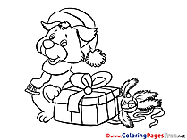 Dog free Colouring Page New Year Present