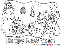 Eve New Year Colouring Sheet free