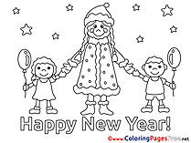 Kids printable Coloring Pages New Year