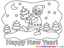 Night for Kids New Year Santa Claus Colouring Page