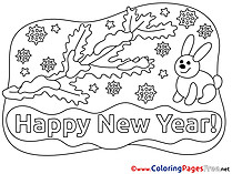 Rabbit New Year Colouring Sheet free