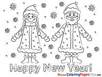Santa Claus Kids New Year Coloring Page