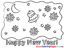 Snowflakes for Kids New Year Colouring Page
