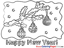 Twig with Toys download New Year Coloring Pages