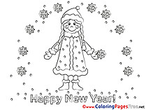 Woman Coloring Sheets Snow New Year free
