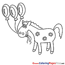 Balloons Horse for free Coloring Pages download