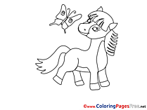 Butterfly Horse download Colouring Sheet free