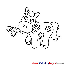 Flower Horse download Colouring Sheet free