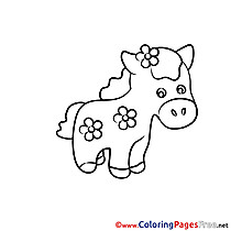 Flowers Pony Children Coloring Pages free
