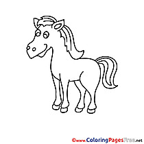 For Kids Horse printable Colouring Page