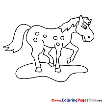 Meadow Horse for Children free Coloring Pages