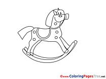 Rocking-Horse Kids free Coloring Page