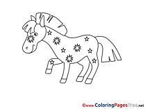 Stars Horse download printable Coloring Pages