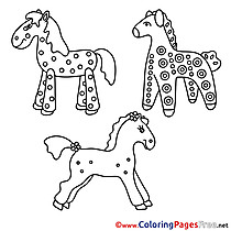 Toy Horses for Children free Coloring Pages