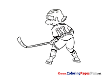 17 Number Hockey Player Colouring Page printable free