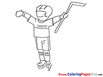 Boy Children Ice Hockey  Coloring Pages free