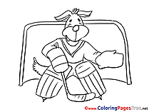 Dog Ice Hockey Colouring Sheet download free