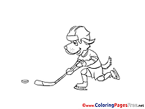 Dog Ice Hockey for Children free Coloring Pages