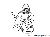 Goalkeeper Ice Hockey download Colouring Sheet free