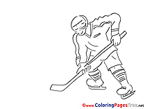 Hockey Player Kids free Coloring Page