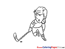 Ice Hockey Player free Colouring Page download